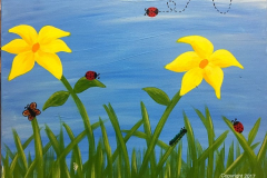 Lady Bug Field Finger Painting